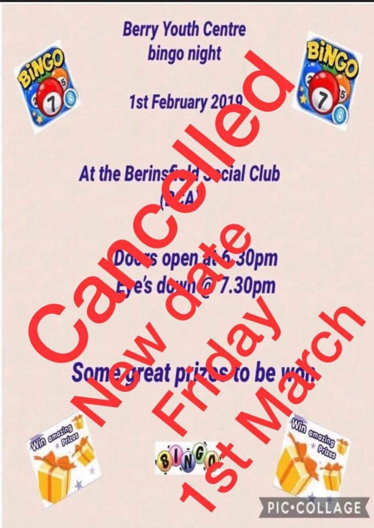 Berinsfield Youth Club Bingo Night