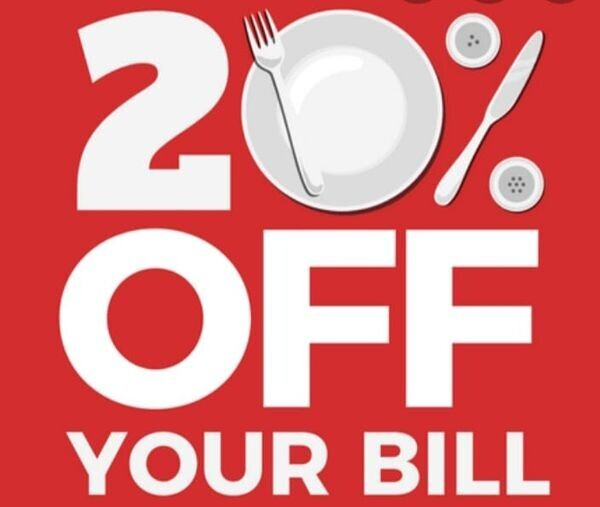 20% off your total food bill