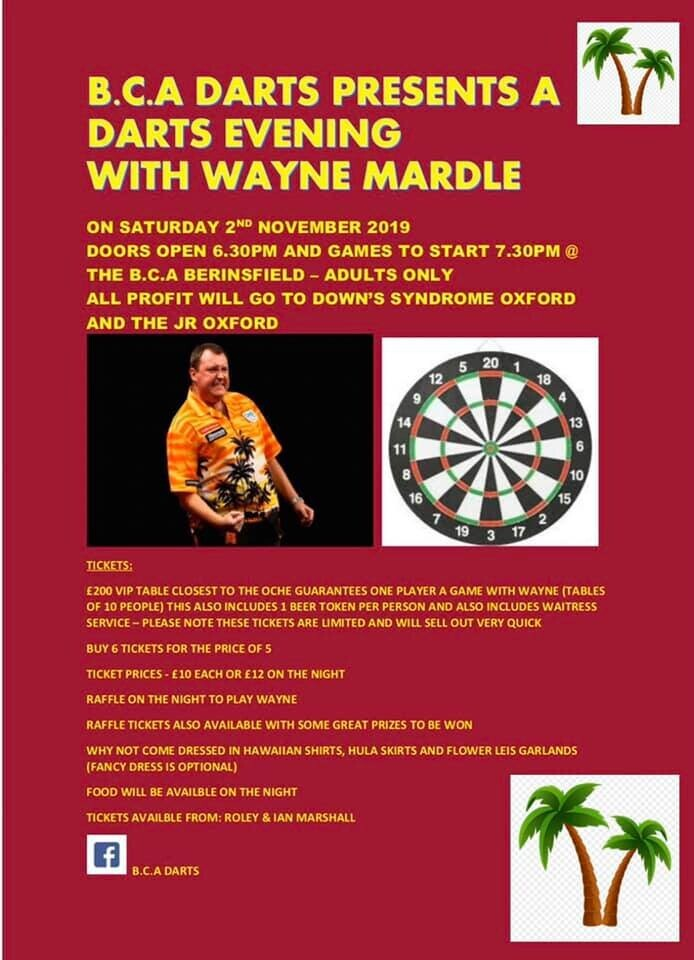 DARTS EVENING WITH GUEST WAYNE MARDLE