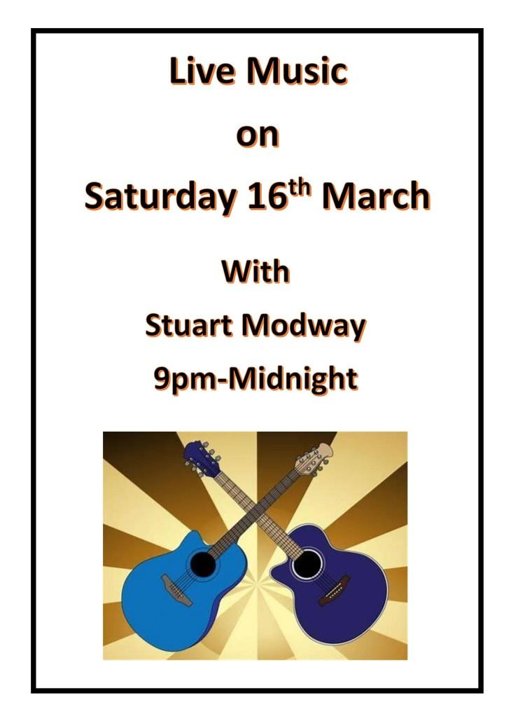 Live Music Saturday 16th March.
