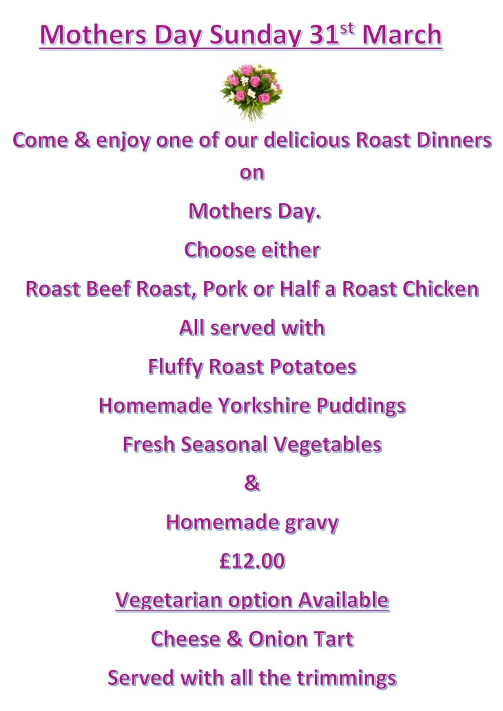 Mothers Day Sunday 31st March