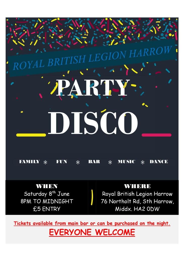 DISCO NIGHT STARTS 8pm REAR HALL