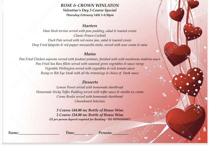 Valentines 3 Course Meal for 2 persons