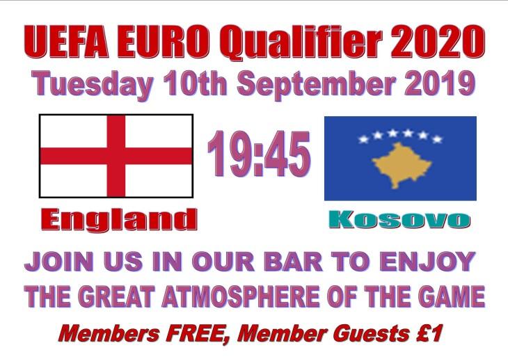 England 19:45 Kosovo - Euro Qualifier