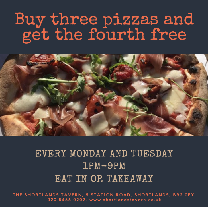 Buy three pizzas get the fourth free!