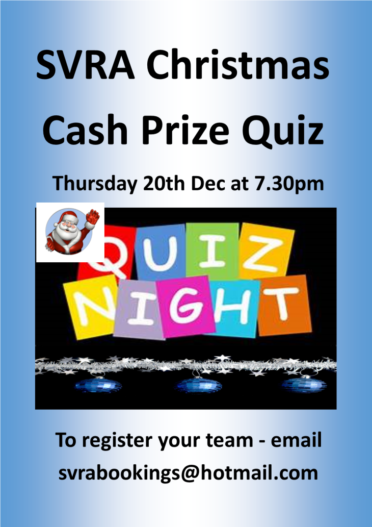 The  SVRA XMAS Cash Prize Quiz Night