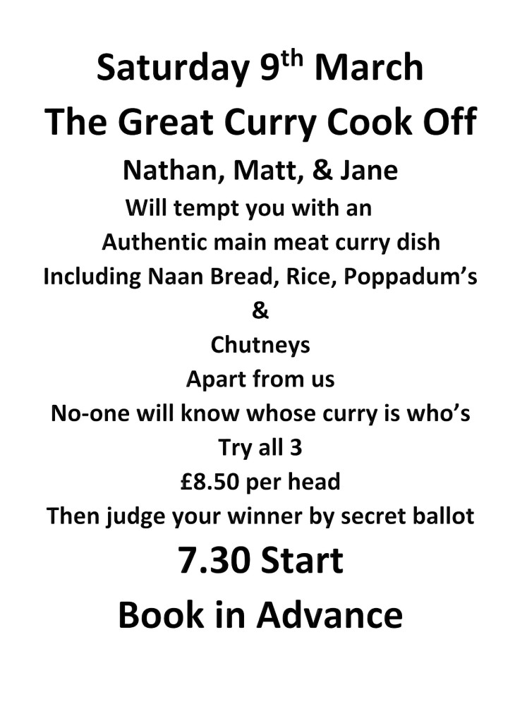 Saturday 9 March Great Curry Cook Off