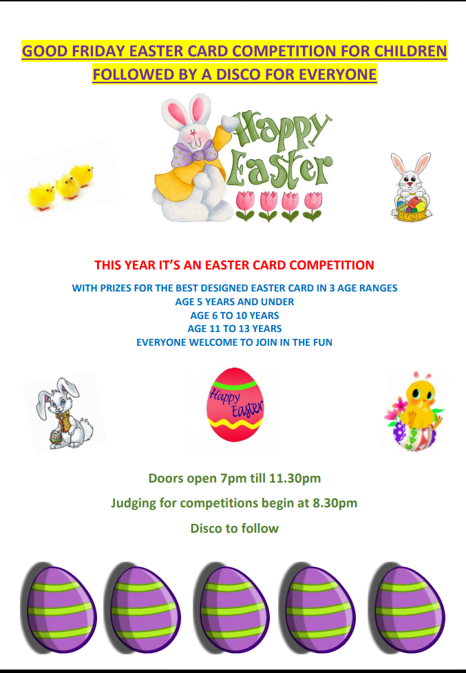 EASTER CARD COMPETITION & DISCO