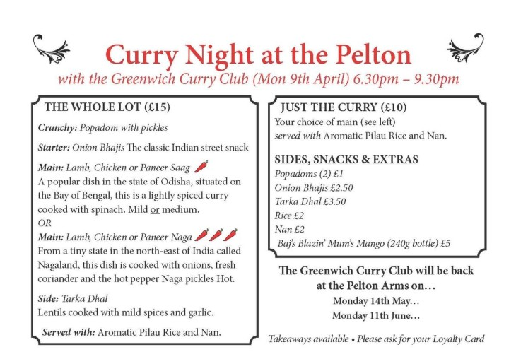 Curry Night with Greenwich Curry Club