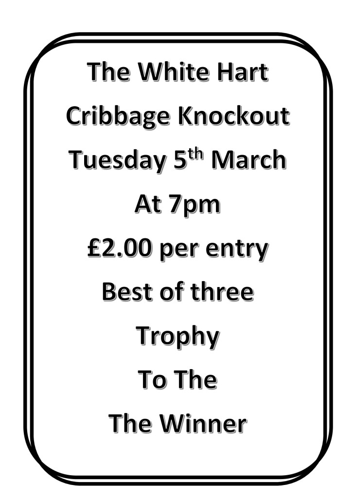 Cribbage Knockout Tuesday 5th March