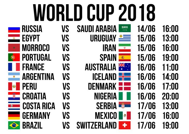 WORLD CUP 2018 - FIXTURES