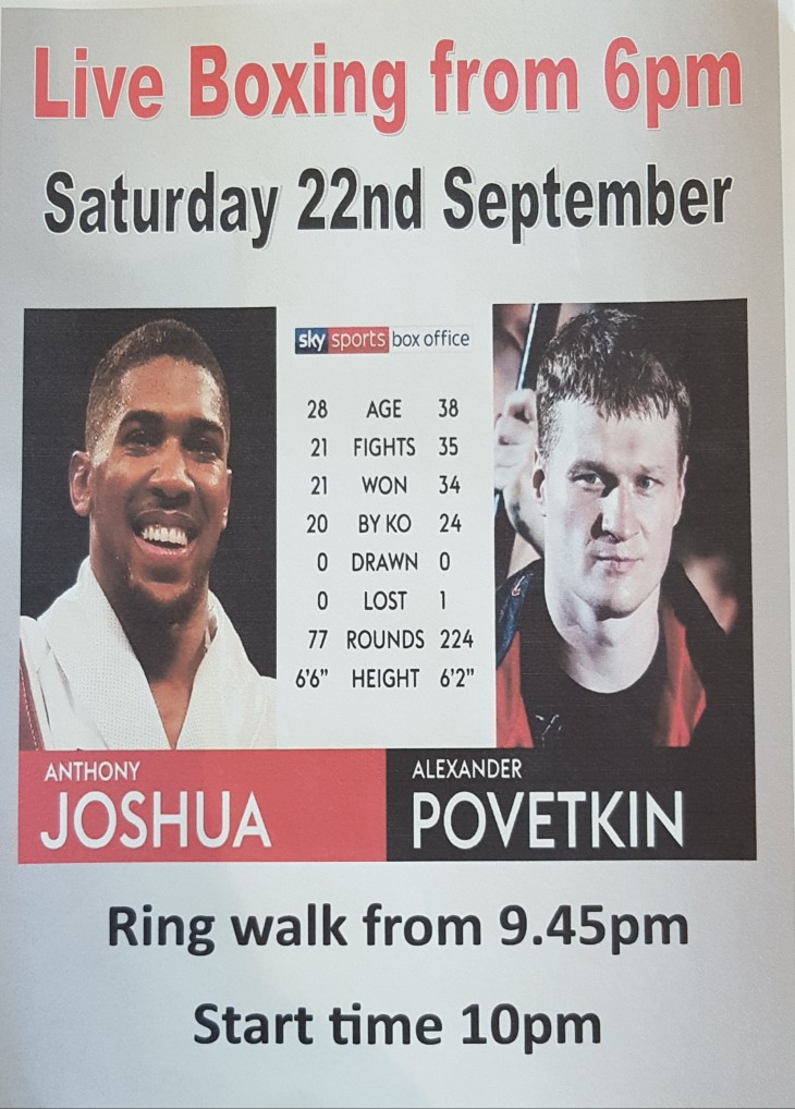 Boxing from 6pm