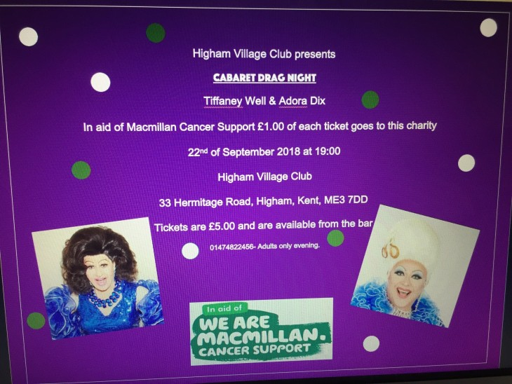 Drag Cabaret Night in aid of Macmillan