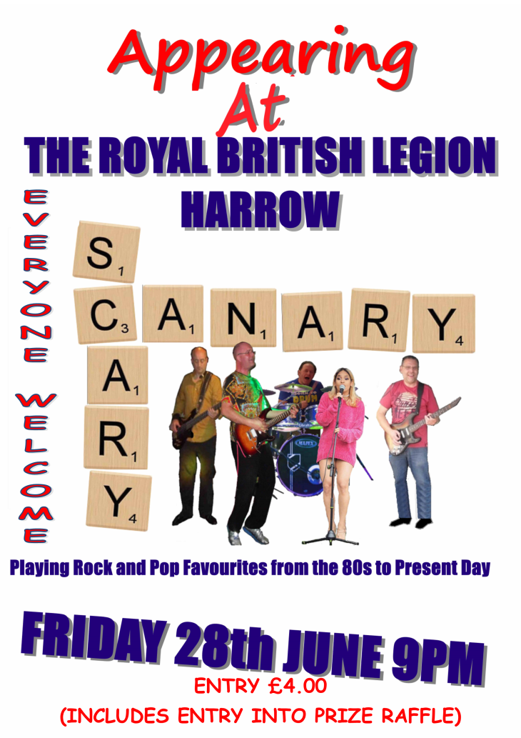 LIVE BAND SCARY CANARY STARTS 8.30pm