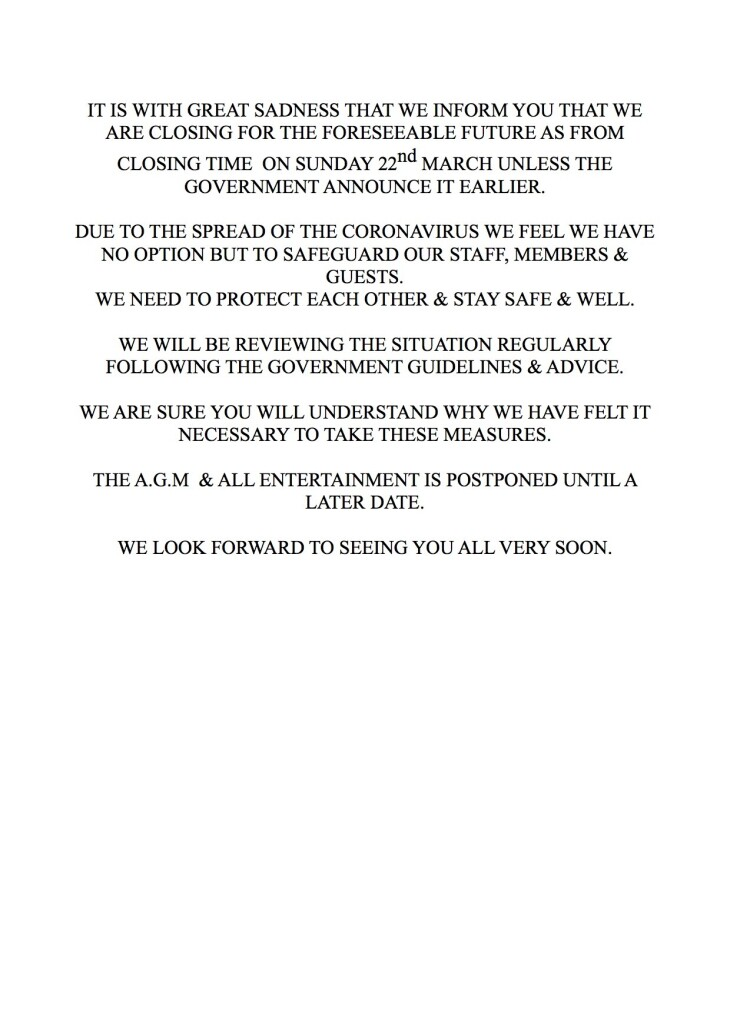 Important announcement - club closure