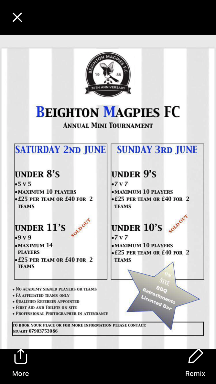 Beighton magpies tournament