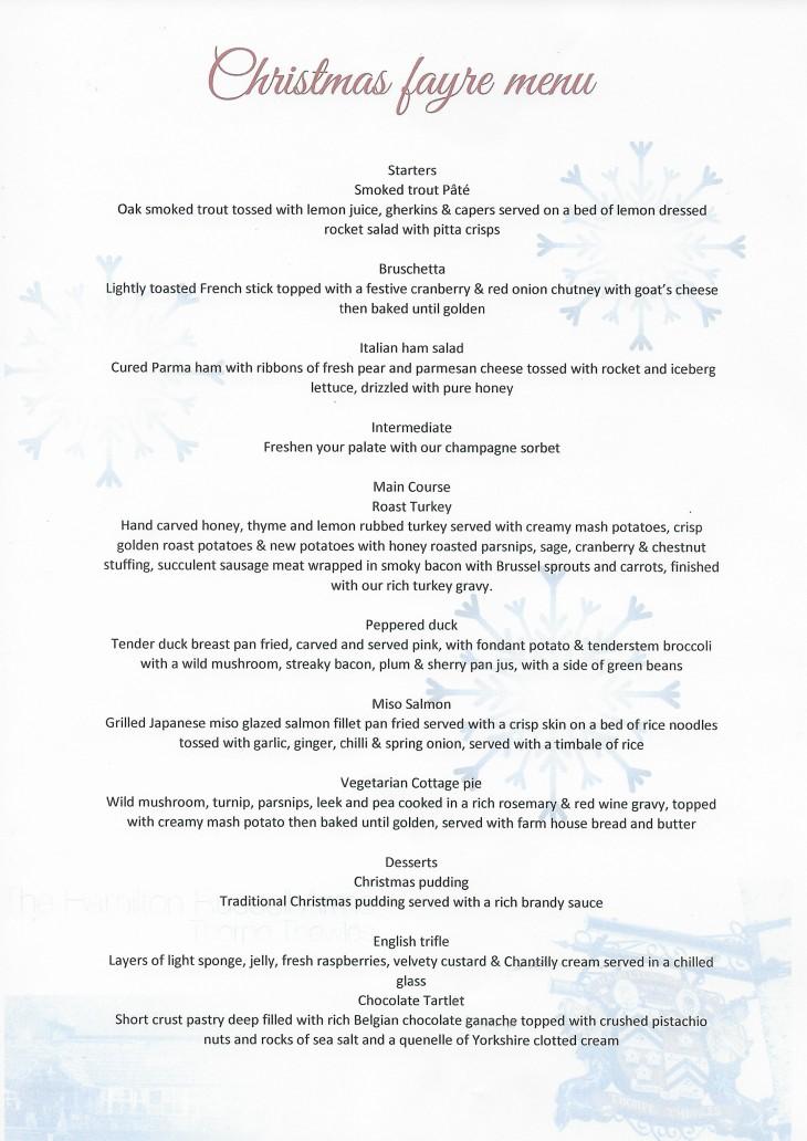 The forth newcastle christmas menu ham