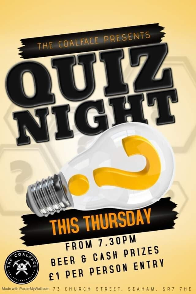 Thursday Quiz Night *CASH PRIZE*