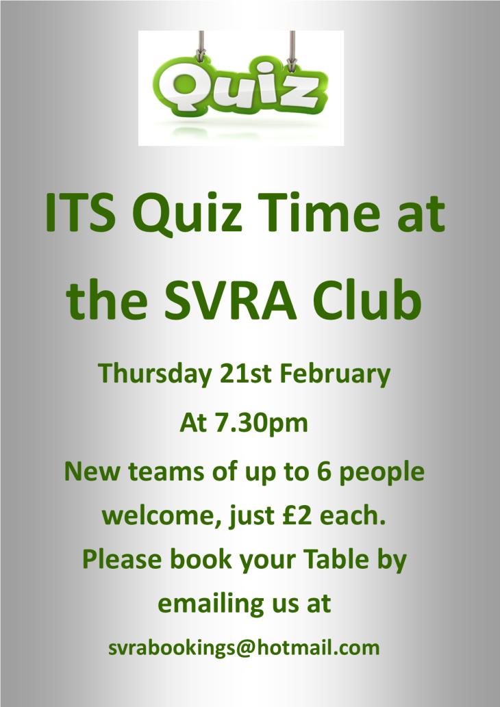 The BIG SVRA Cash Prize Quiz Night