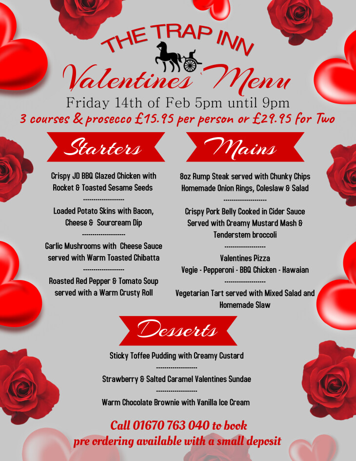Valentines Night 3 course meal