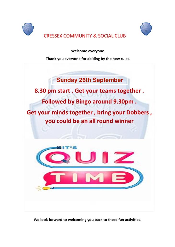 September quiz & bingo notification