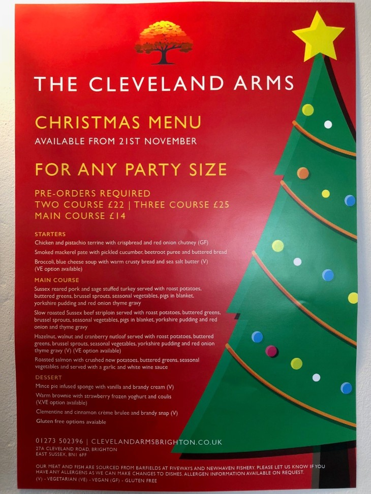 Christmas menu available