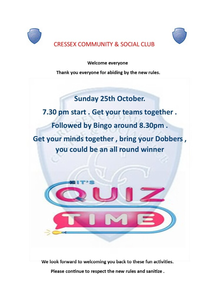 Quiz and bingo notification 25/10/2020