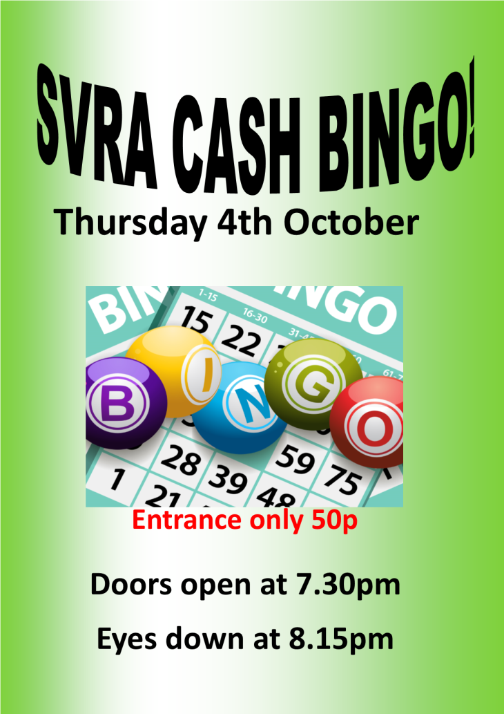 Cash Prize Bingo at the SVRA Club