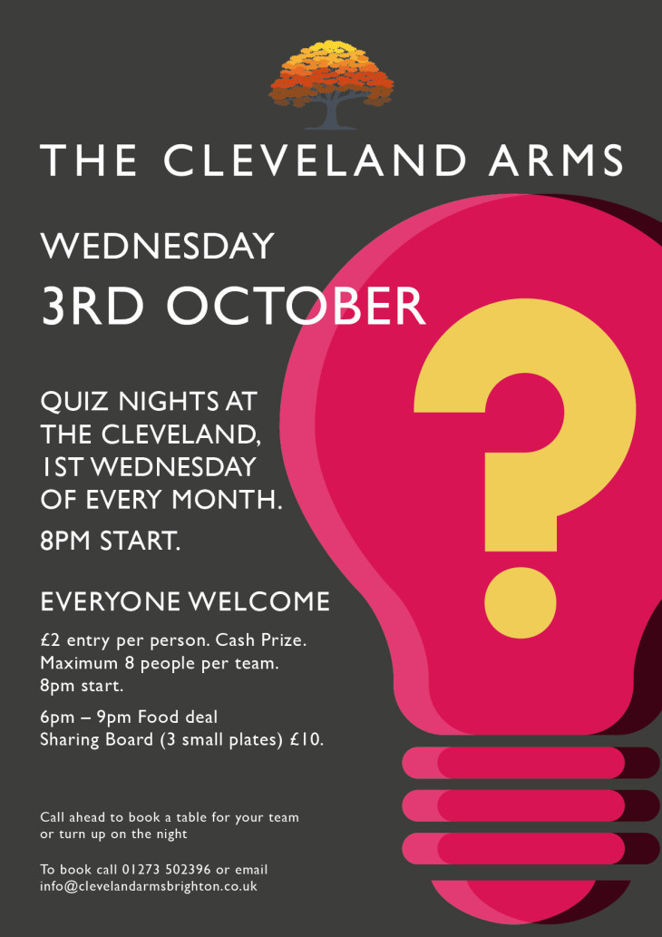 Quiz night at The Cleveland Arms