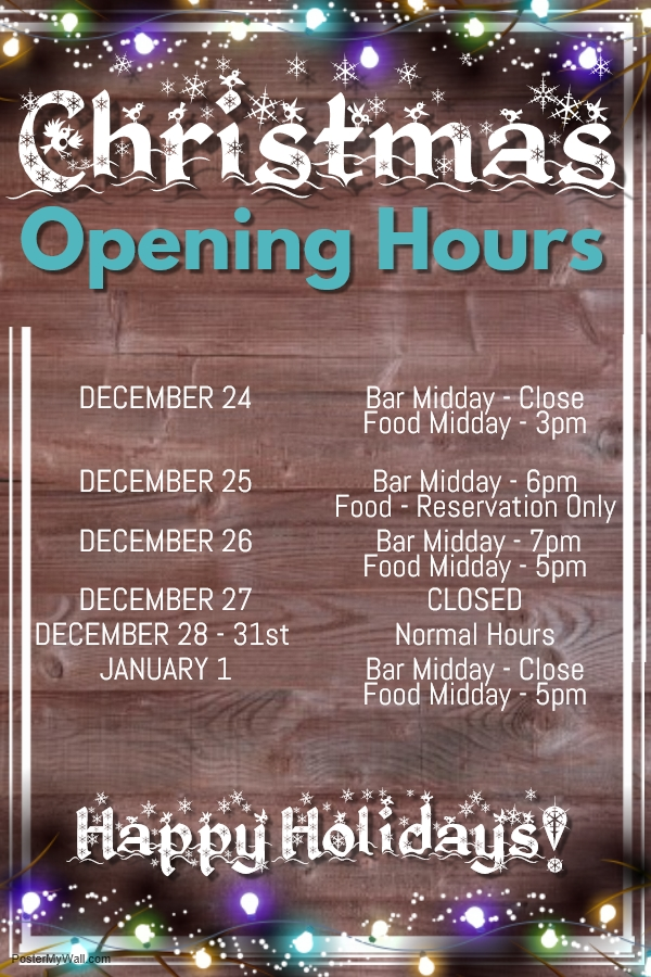 The Plough Festive Opening Hours