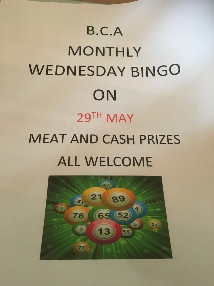 BCA Monthly Wednesday Bingo