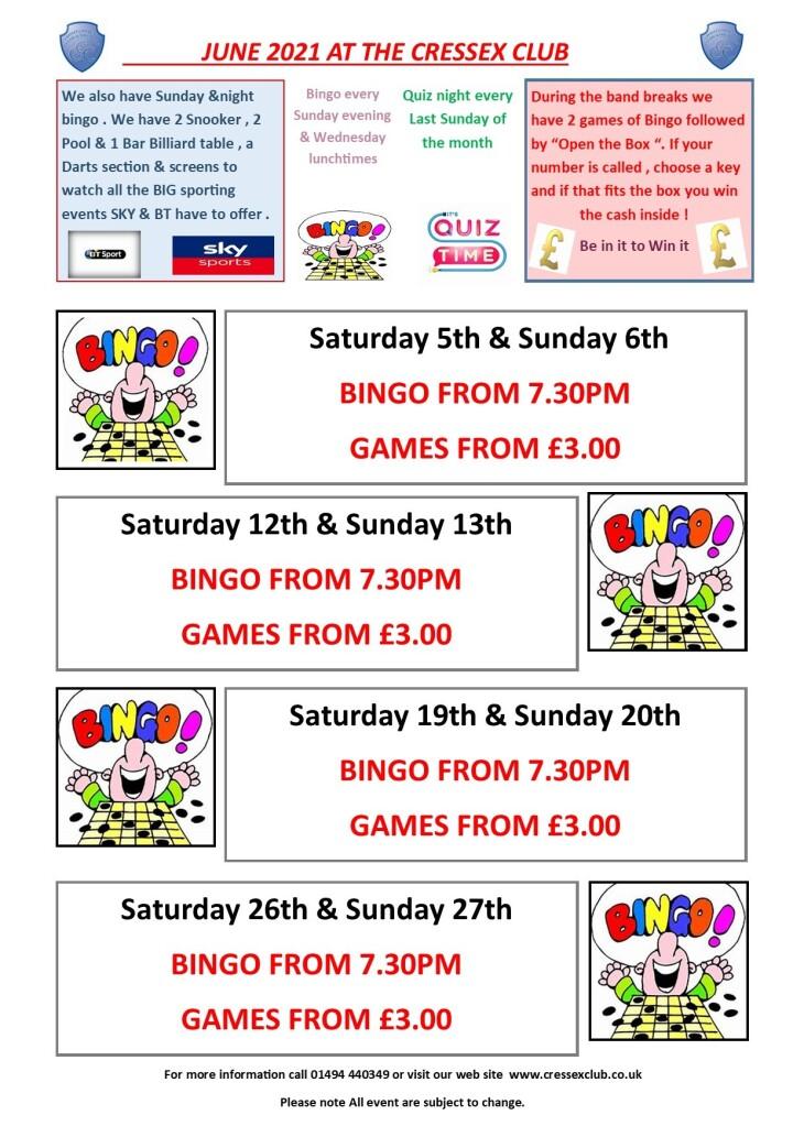 June bingo & entertainment update