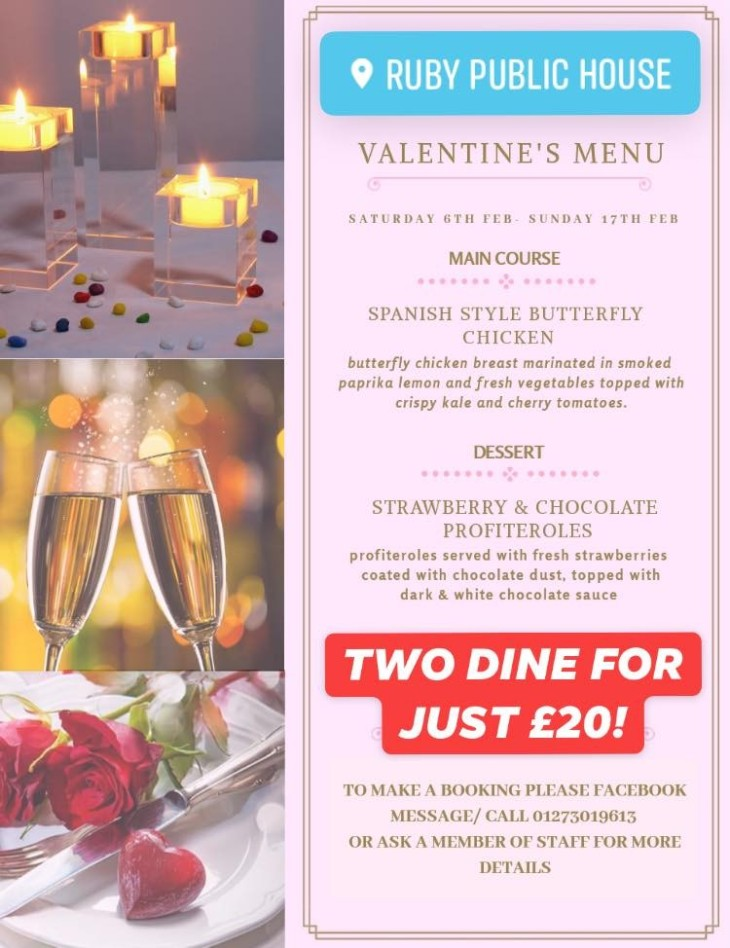 Valentine's Menu available