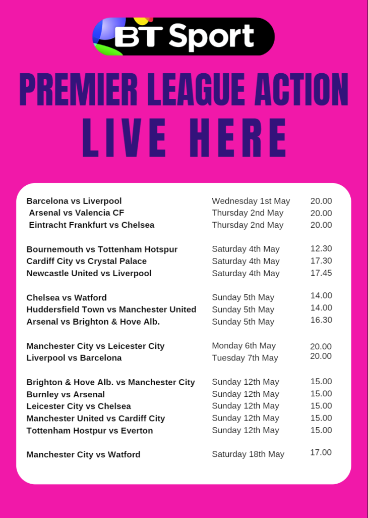BT Sports May Events