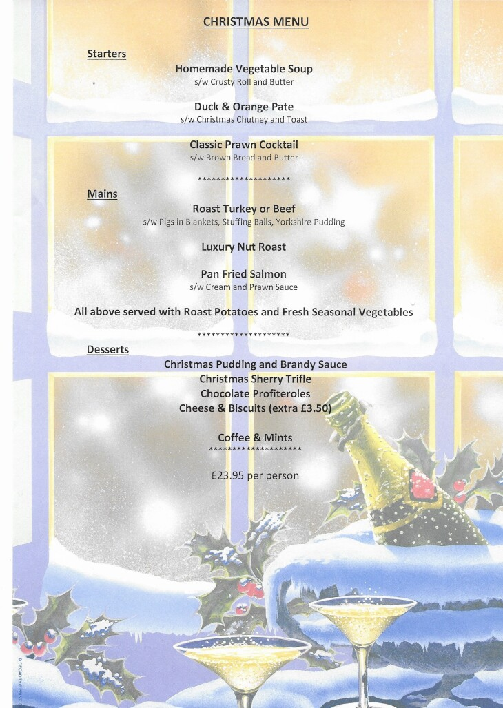 The Rose & Crown Christmas Menu 2019
