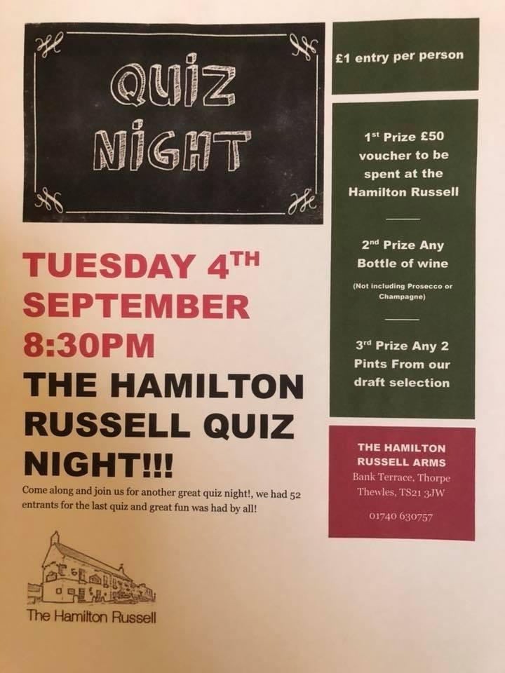Quiz Night from 8.30pm