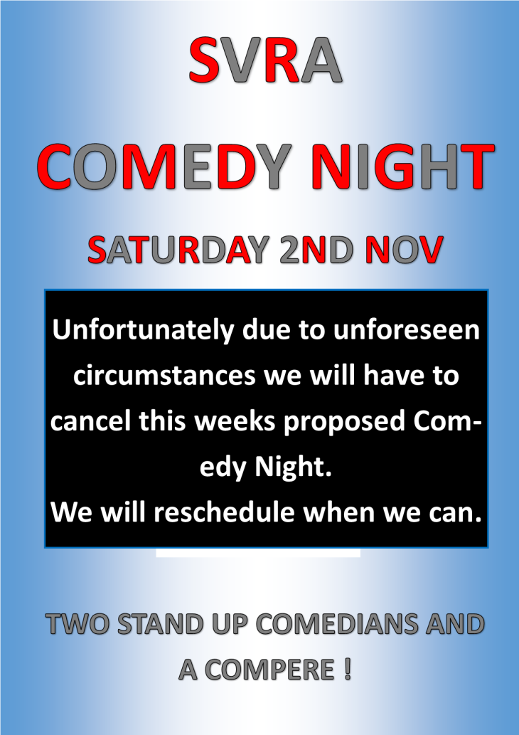 SVRA COMEDY NIGHT CANCELLED