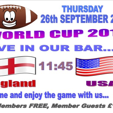 Rugby World Cup - England 11:45 USA