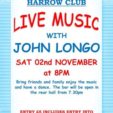 LIVE MUSIC JOHN LONGO 8pm