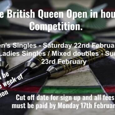 British Queen in house darts comp