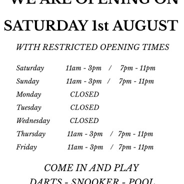 We are opening on Saturday 1st August