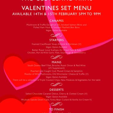 Valentines special menu