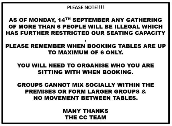 PLEASE NOTE TABLE RESERVATIONS