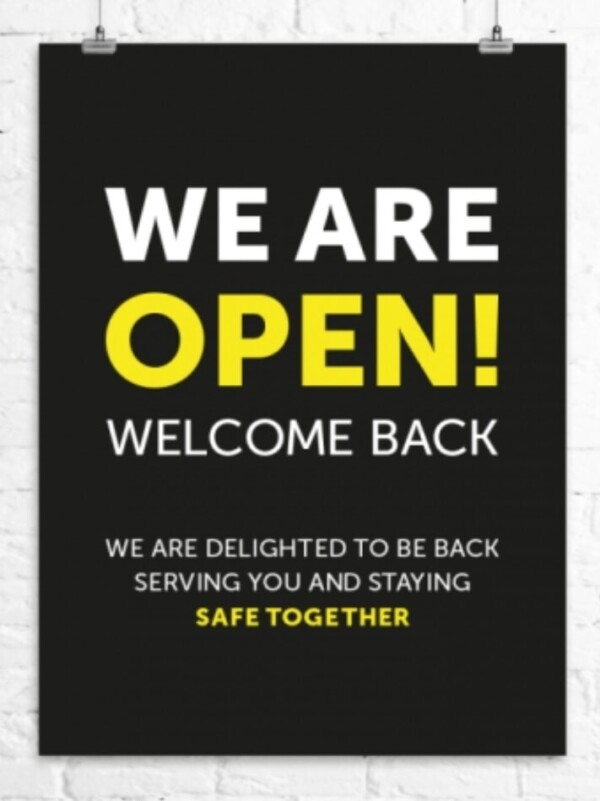 We are open! Welcome Back
