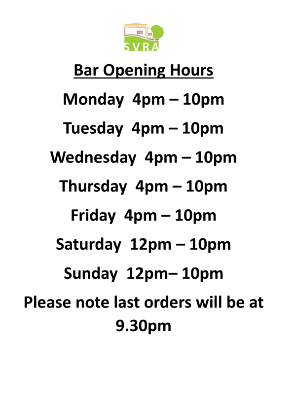 Updated Bar Opening Times