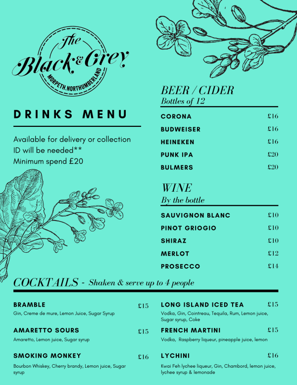 COVID Collection or Delivery Food Menu