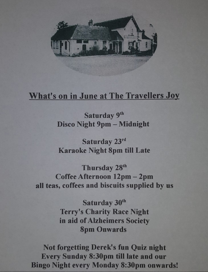 What's On This month at The Travellers Joy
