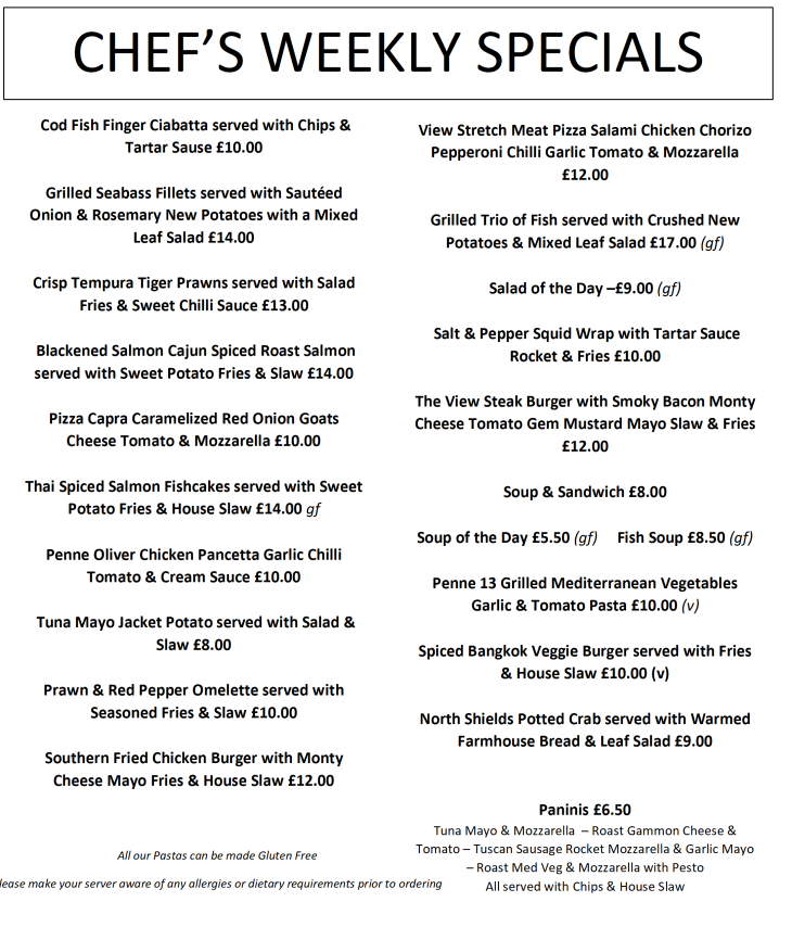This Weeks Menu 1st July - 7th July