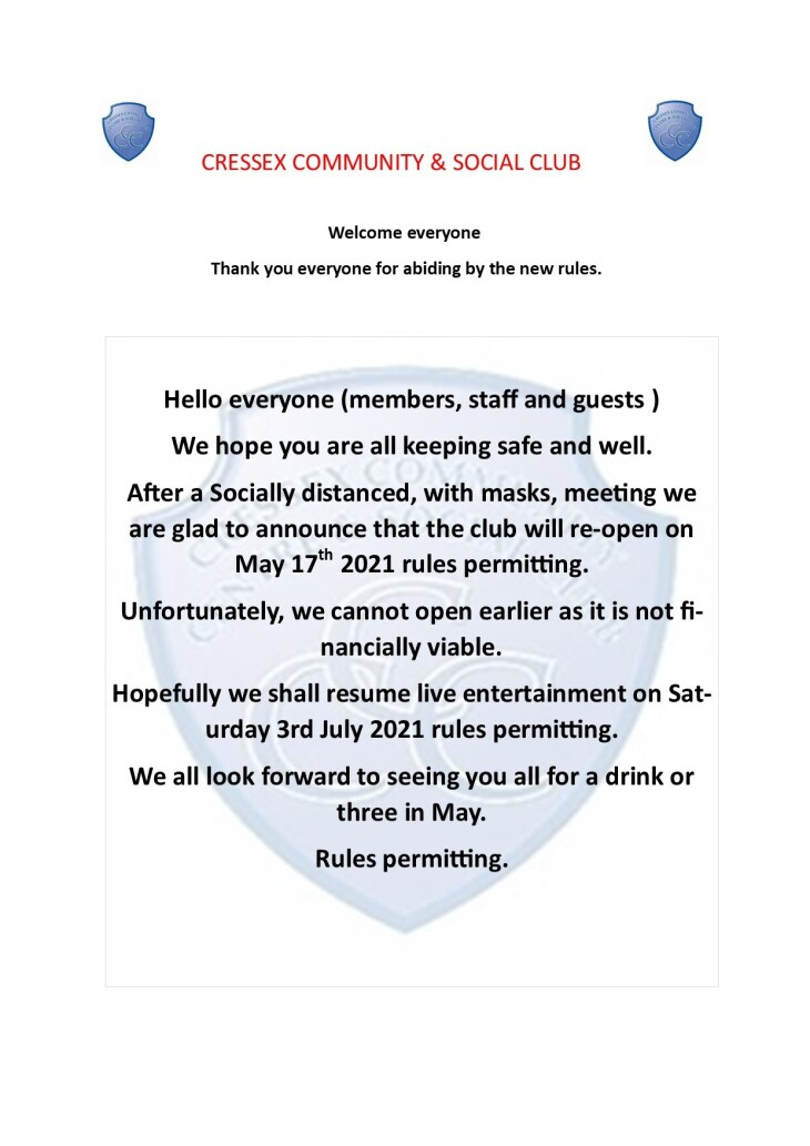 Provisional club re-opening advice
