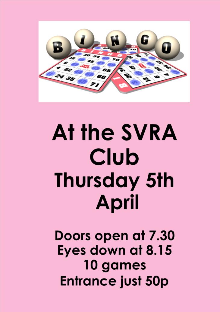 Bingo This Thursday at the SVRA Club